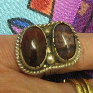 Southwestern Sterling Jasper Gemstone Ring Vintage